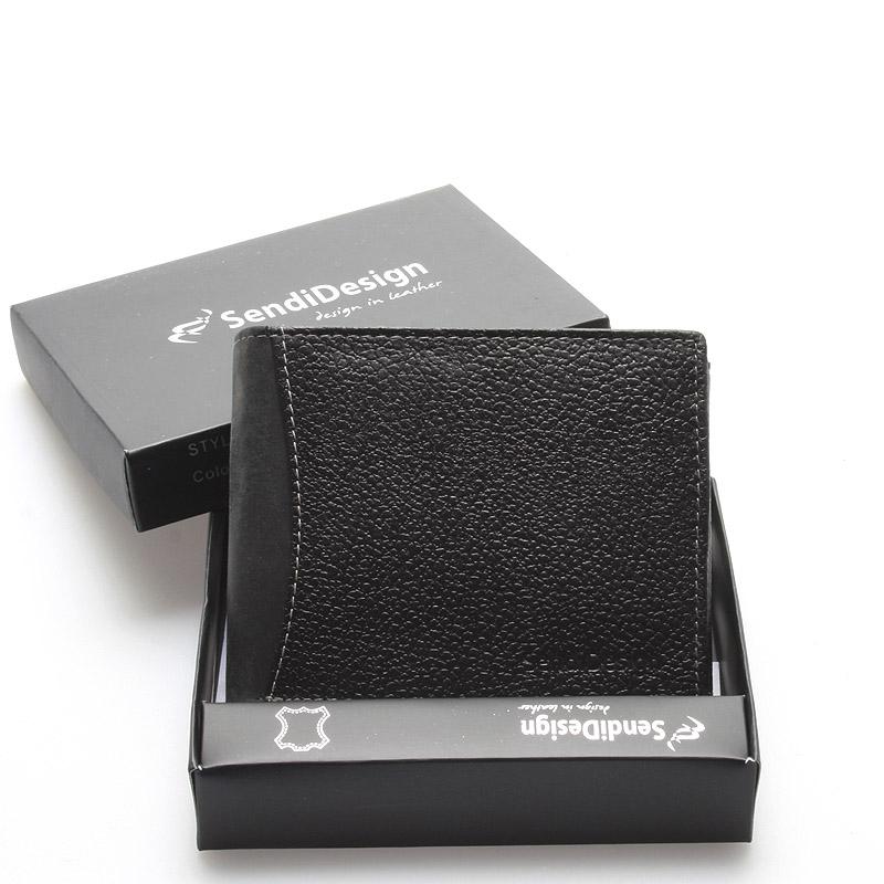 Pánská černá kožená peněženka - Sendi Design Hunter 2