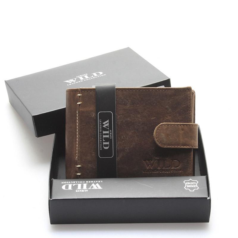Pánská kožená peněženka s patinou hnědá - WILD Herakles