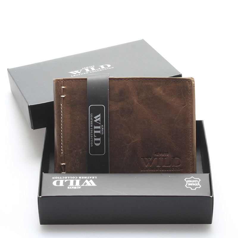 Pánská kožená peněženka s patinou hnědá - WILD Heller