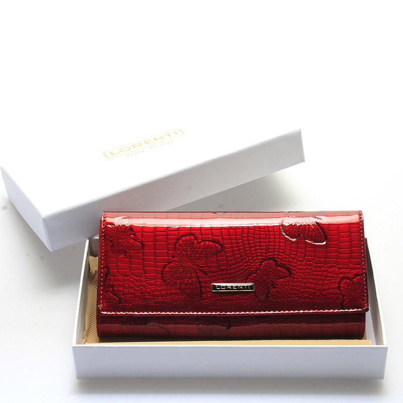 Dámská lakovaná červená kožená peněženka - Lorenti Francesca