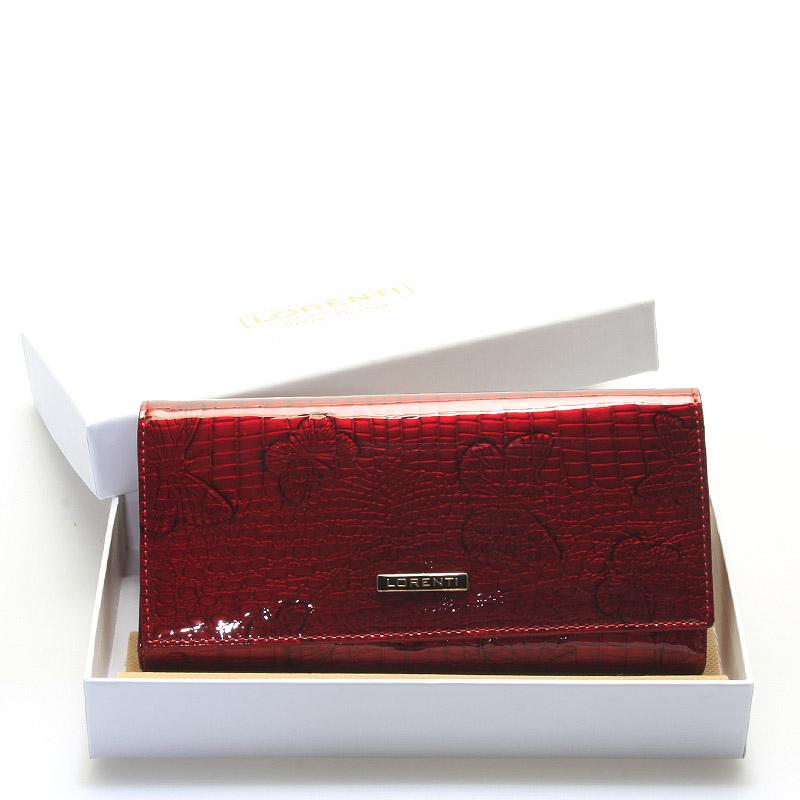 Dámská módní kožená lakovaná peněženka červená - Lorenti Idylla