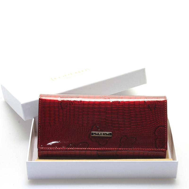 Dámská červená kožená lakovaná peněženka - Lorenti Hyades