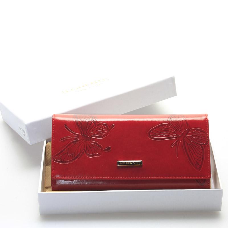 Dámská červená kožená peněženka se vzorem - Lorenti Hilaeira