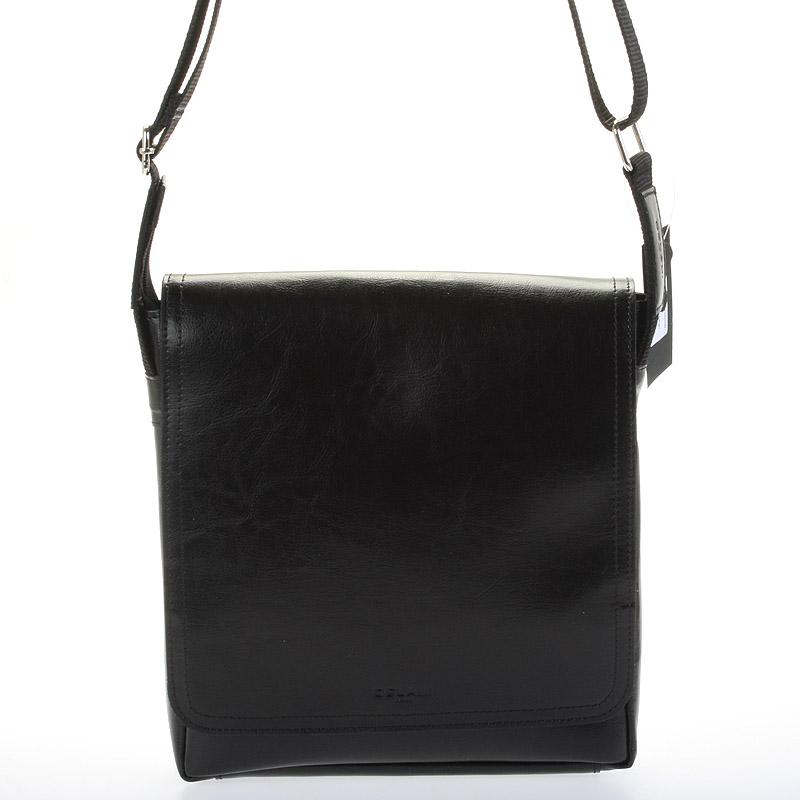 Černá elegantní crossbody kožená taška - Delami 1172
