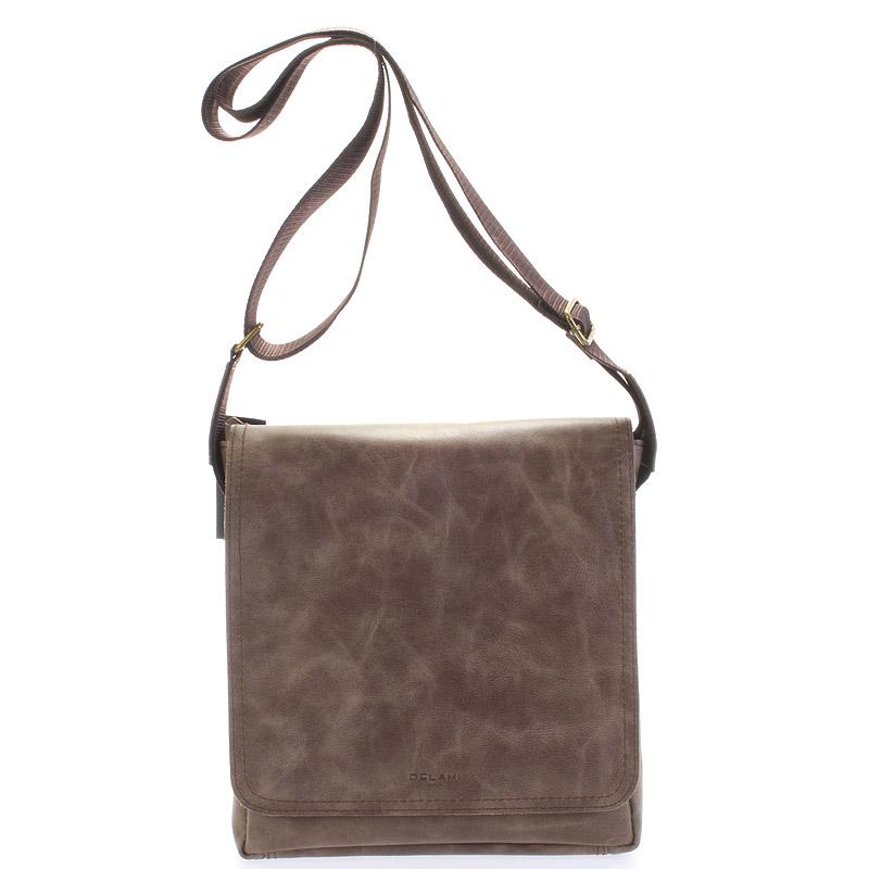 Světle hnědá elegantní crossbody kožená taška - Delami 1172