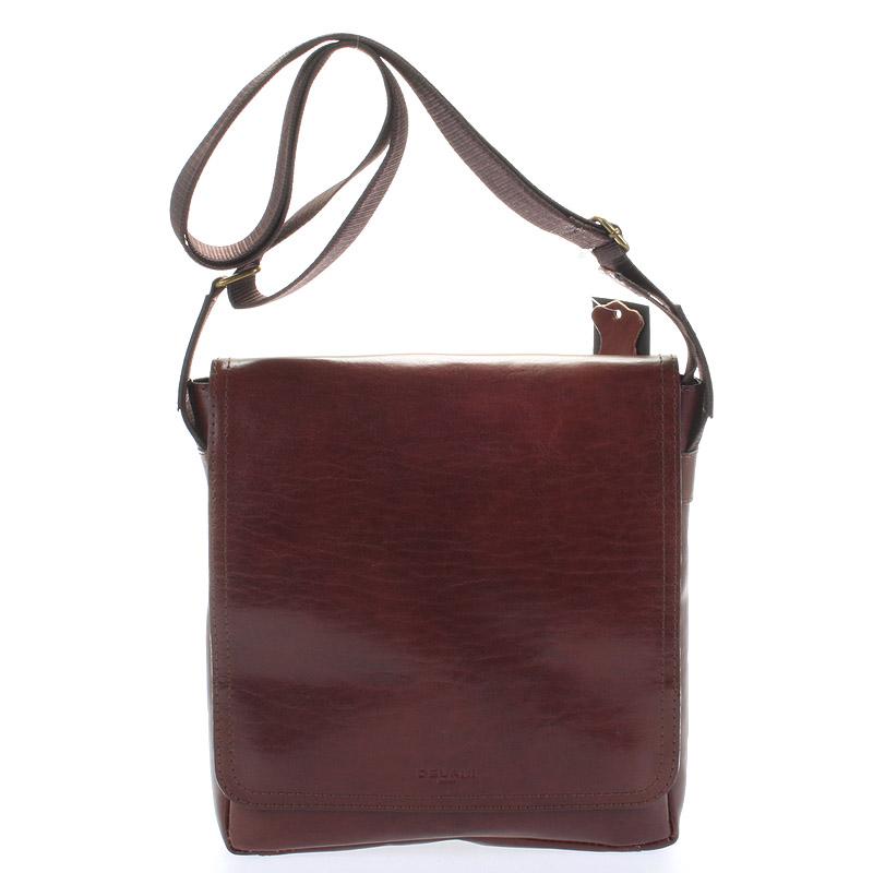 Hnědá elegantní crossbody kožená taška - Delami 1172