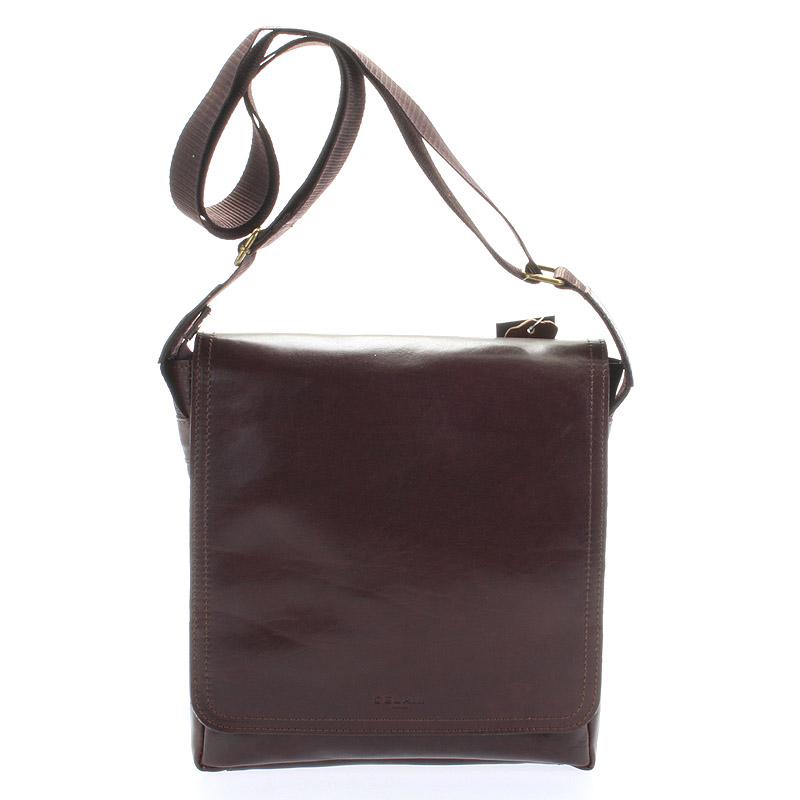 Tmavě hnědá elegantní crossbody kožená taška - Delami 1172