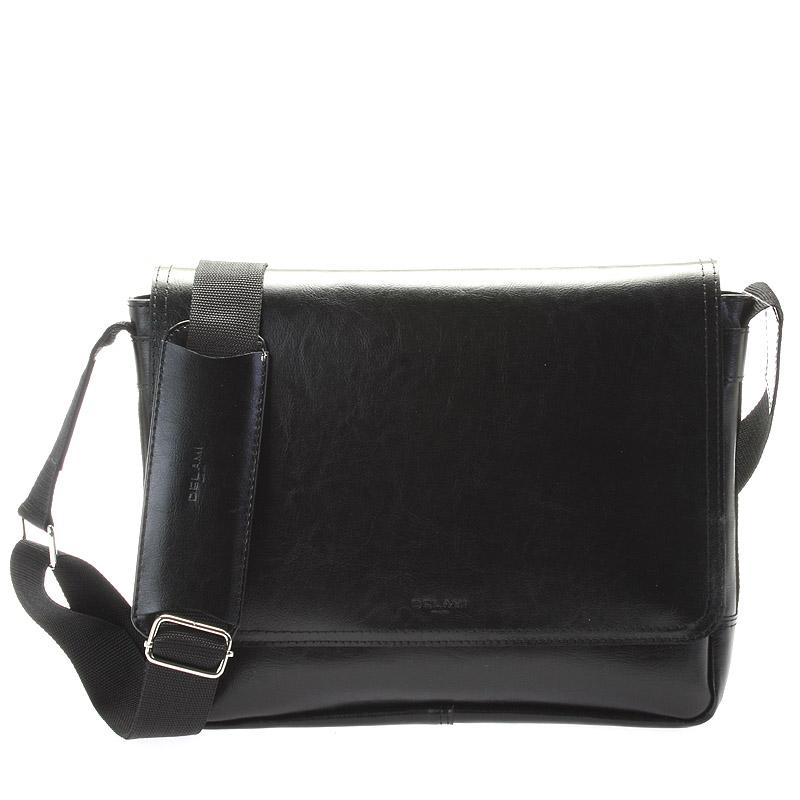 Černá středně velká kožená taška přes rameno - Delami 1249