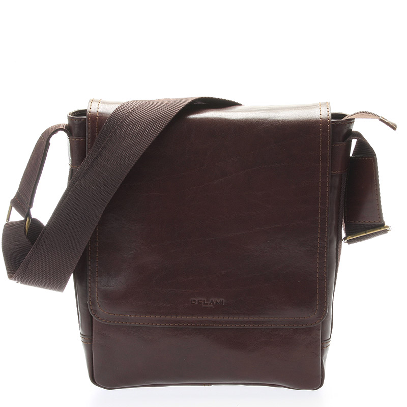 Tmavě hnědá stylová crossbody kožená taška - Delami 1246