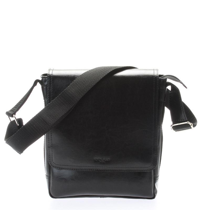 Černá stylová crossbody kožená taška - Delami 1246