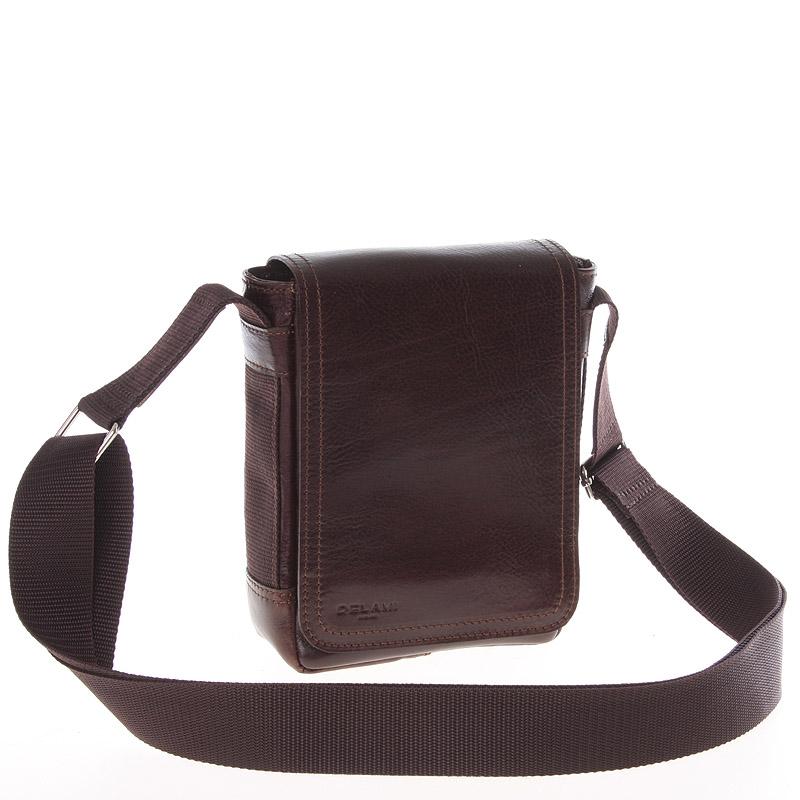 Hnědá menší kvalitní crossbody kožená taška - Delami 1181