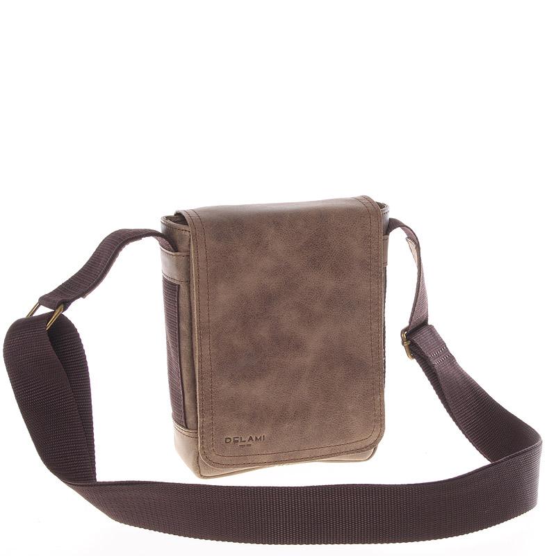 Světle hnědá menší kvalitní crossbody kožená taška - Delami 1181