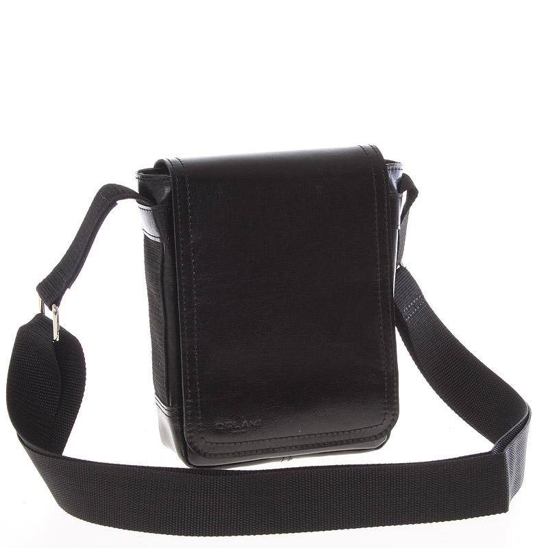 Černá menší kvalitní crossbody kožená taška - Delami 1181