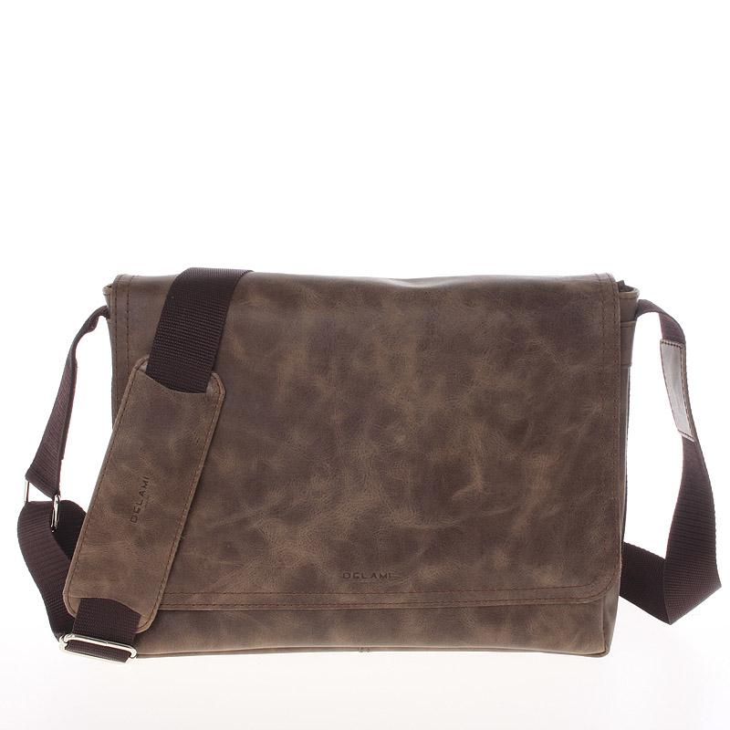 Světle hnědá středně velká kožená taška přes rameno - Delami 1249
