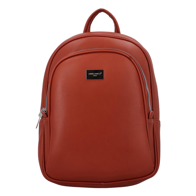 Dámský měkký městský batoh cihlově červený - David Jones Beatrice