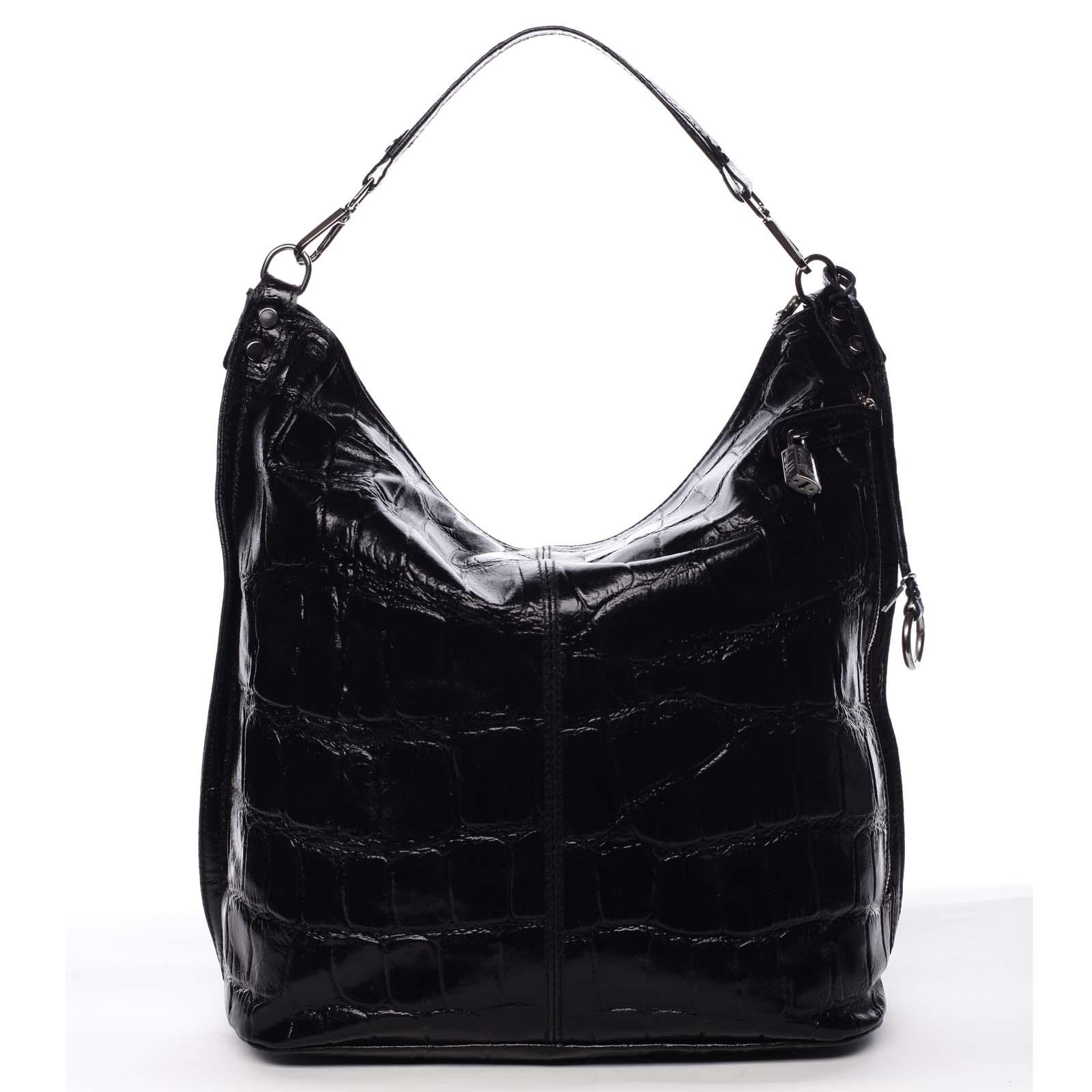 Velká kožená dámská kabelka černá - ItalY Celinda