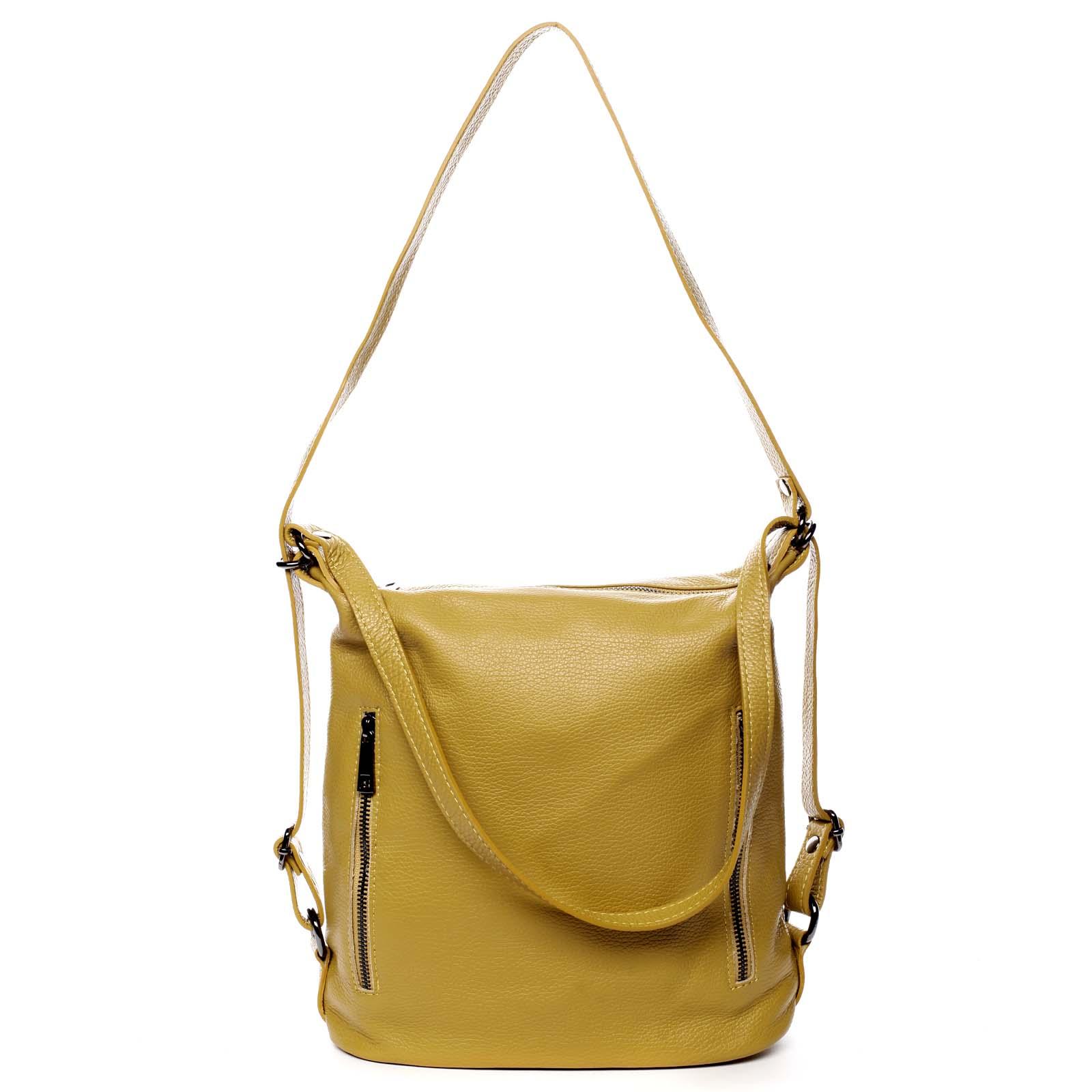 Dámská kožená kabelka batoh žlutá - ItalY Nadine