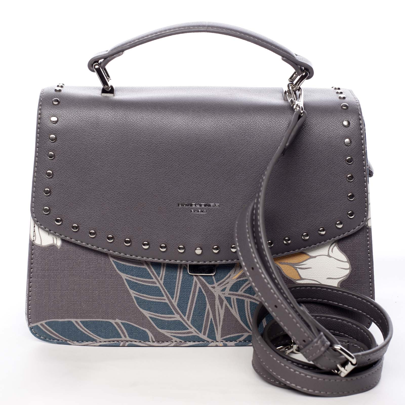 Dámská kabelka do ruky šedá - David Jones Floral
