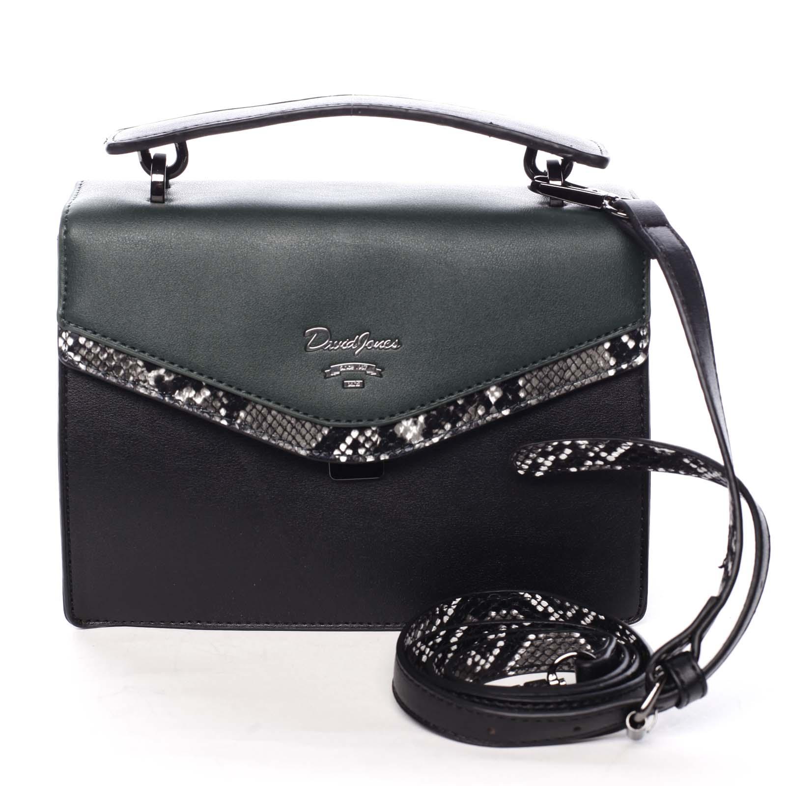 Dámská kabelka do ruky černo zelená - David Jones Scarlett