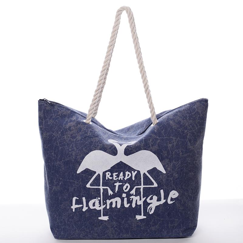 Originální plážová modrá taška - Delami Flamingo
