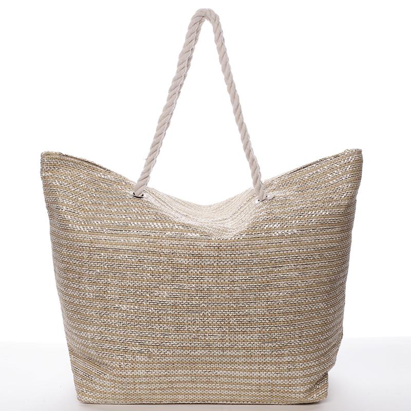 Hrubší béžová plážová taška - Delami Coarse