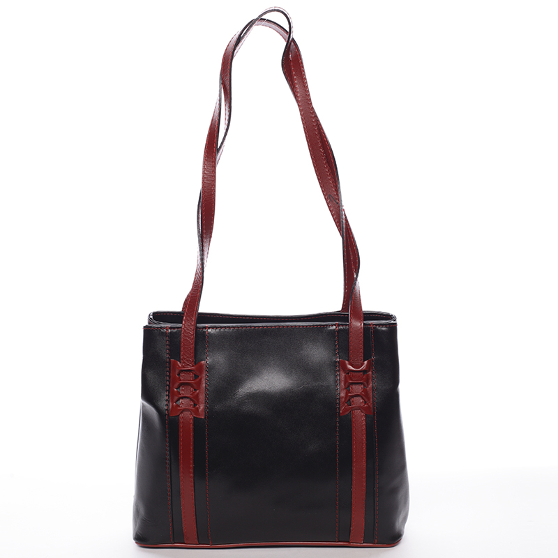 Černo červená kožená kabelka přes rameno - ItalY Zosima
