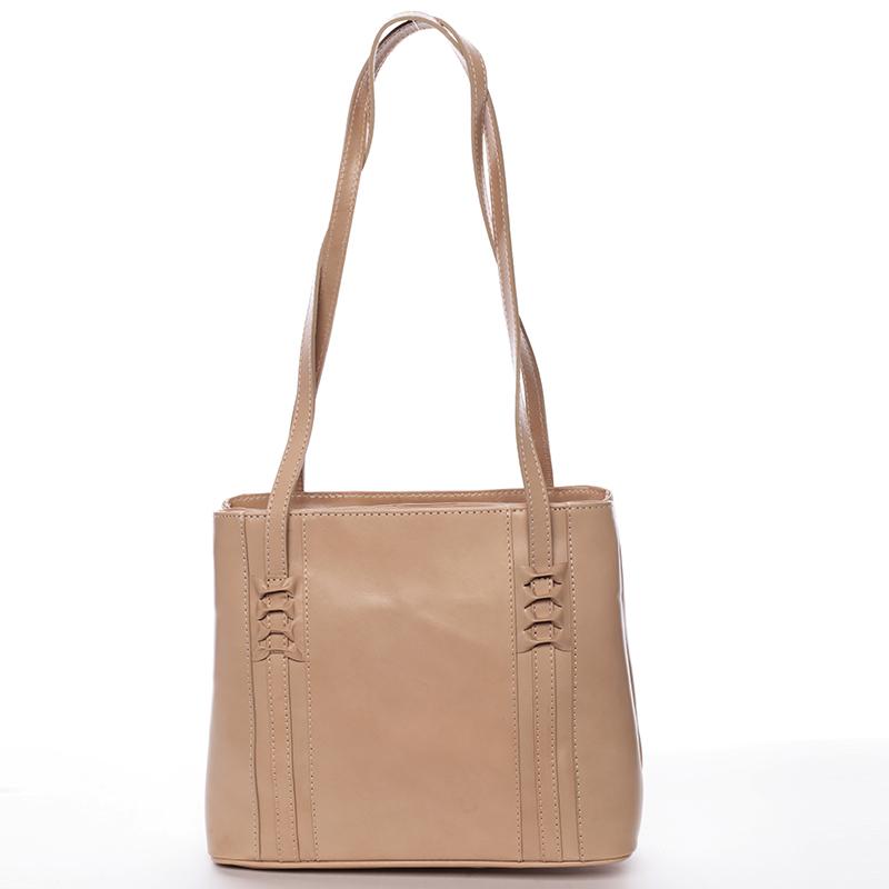 Taupe kožená kabelka přes rameno - ItalY Zosima