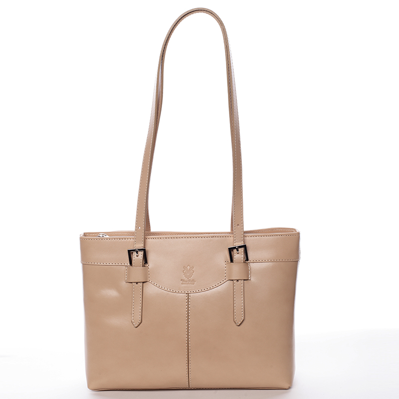 Módní dámská kožená kabelka taupe - ItalY Zoelle