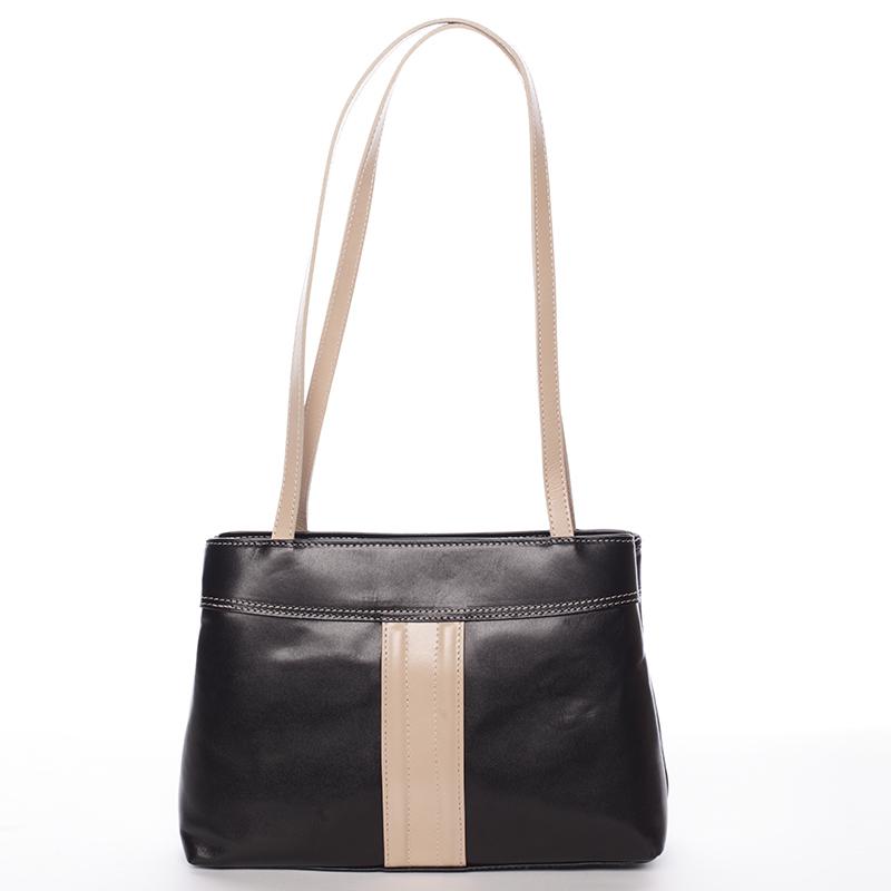 Černo béžová středně velká kožená kabelka přes rameno - ItalY Zanthe