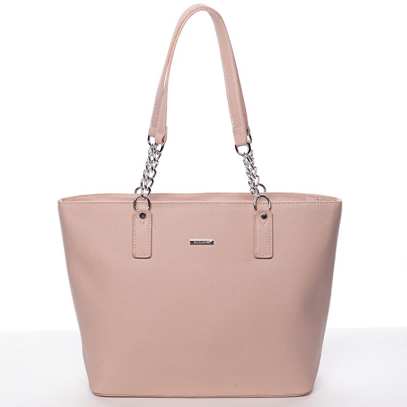 Elegantní saffianová růžová kabelka přes rameno - David Jones Audrina