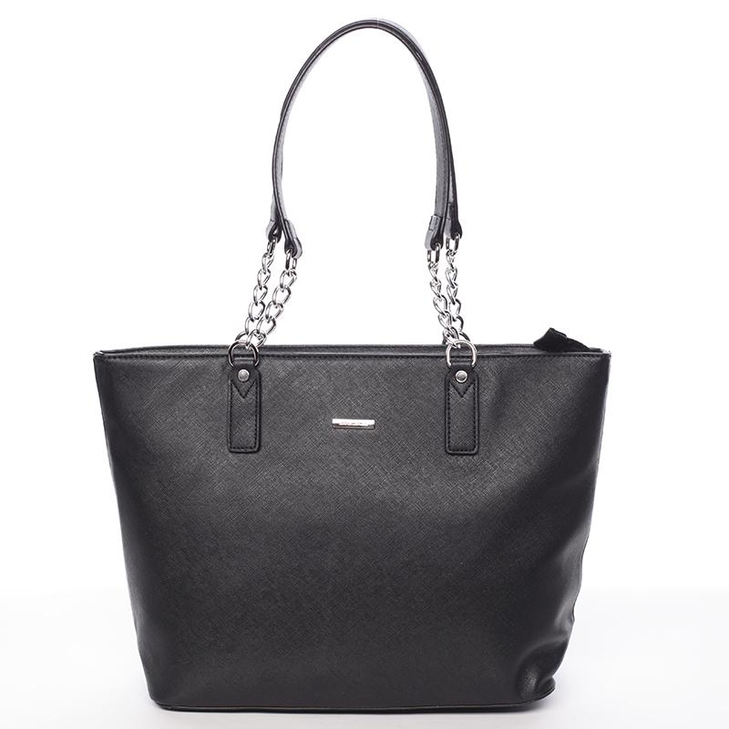 Elegantní saffianová černá kabelka přes rameno - David Jones Audrina