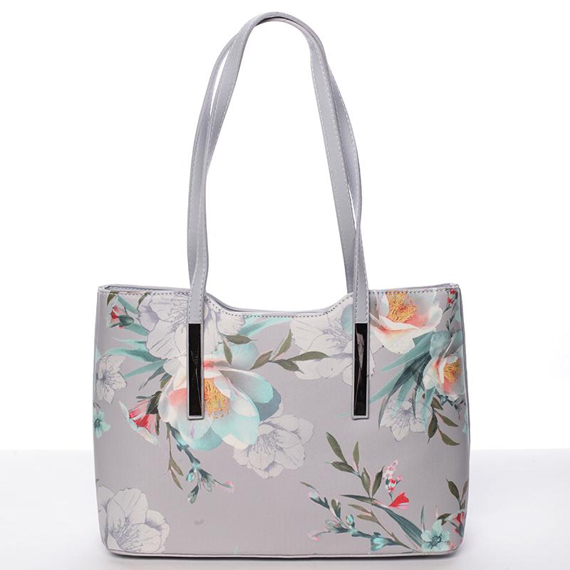 Moderní květinová kabelka přes rameno světle šedá - David Jones Aromik