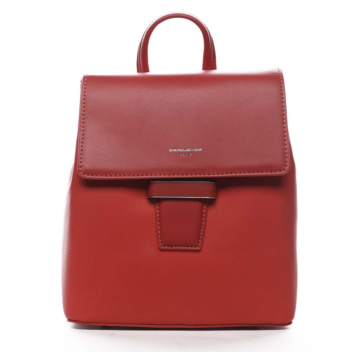 Dámský městský batůžek kabelka červený - David Jones Kancy