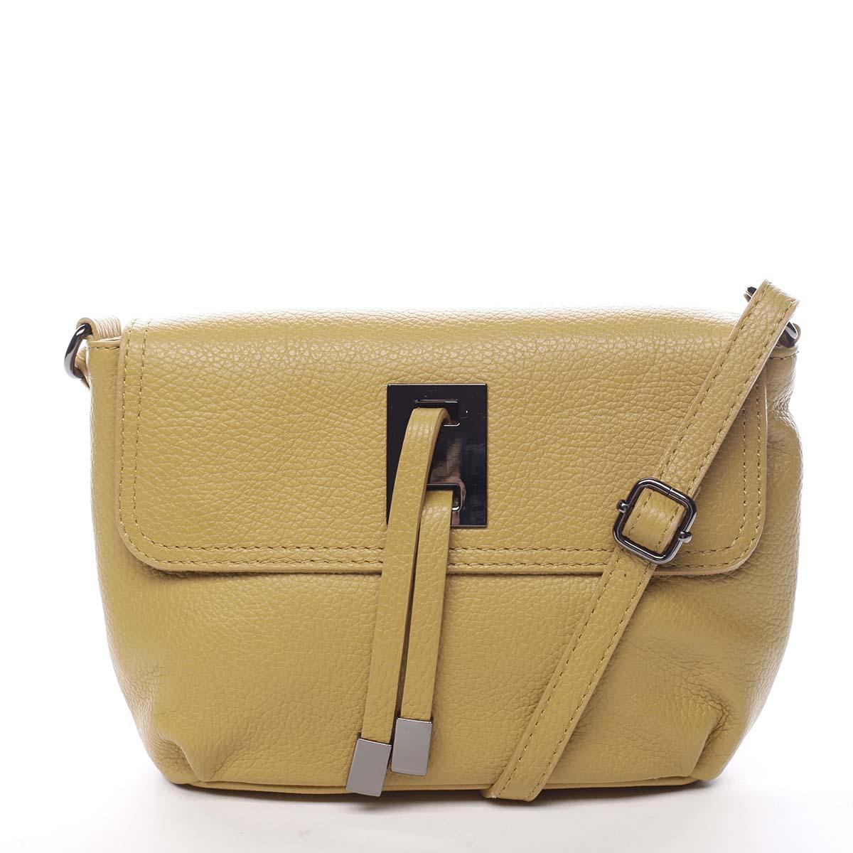 Dámská kožená crossbody kabelka tmavě žlutá - ItalY Porta