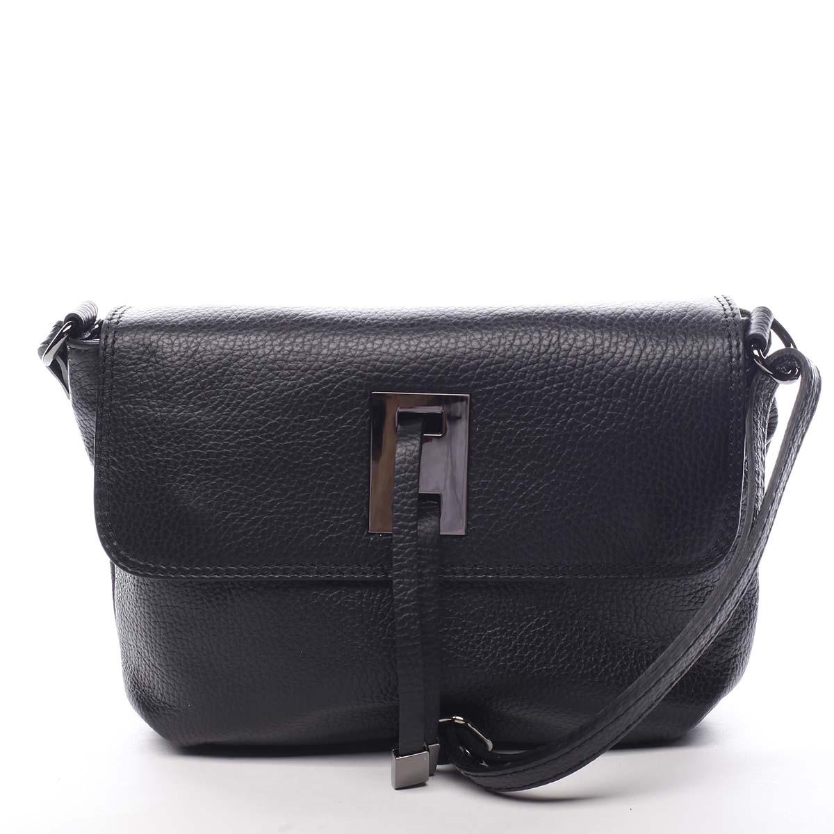 Dámská kožená crossbody kabelka černá - ItalY Porta