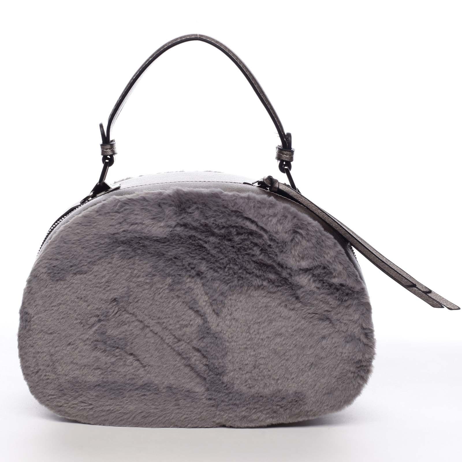 Dámská kožešinová kabelka šedá - MARIA C Hasiel