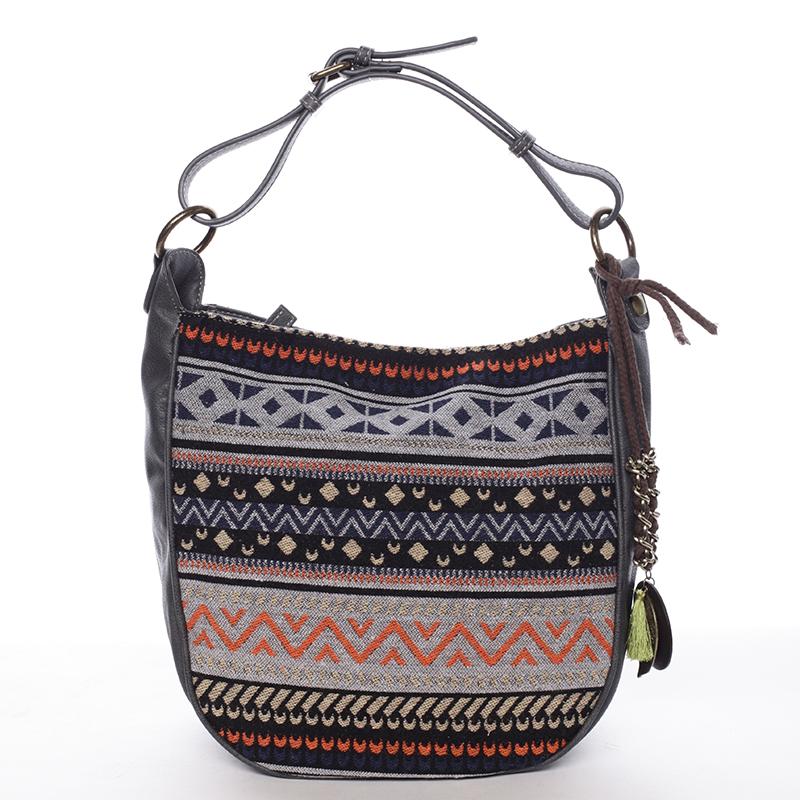 Moderní dámská kabelka přes rameno černo šedá - David Jones Amedee