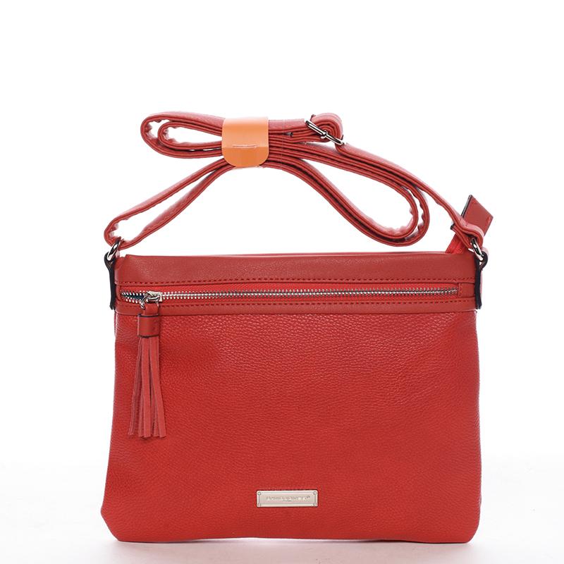 Módní dámská crossbody kabelka červená - David Jones Mercer