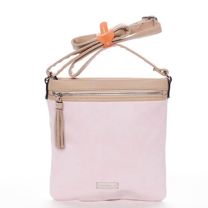 Moderní dámská crossbody kabelka růžová - David Jones Azurine