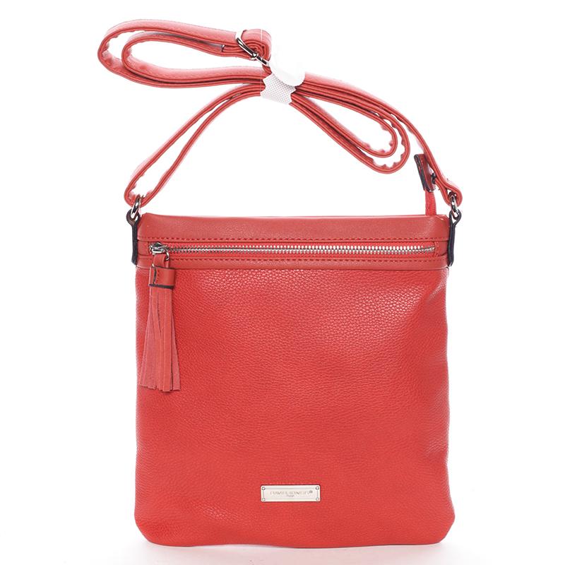 Moderní dámská crossbody kabelka červená - David Jones Azurine