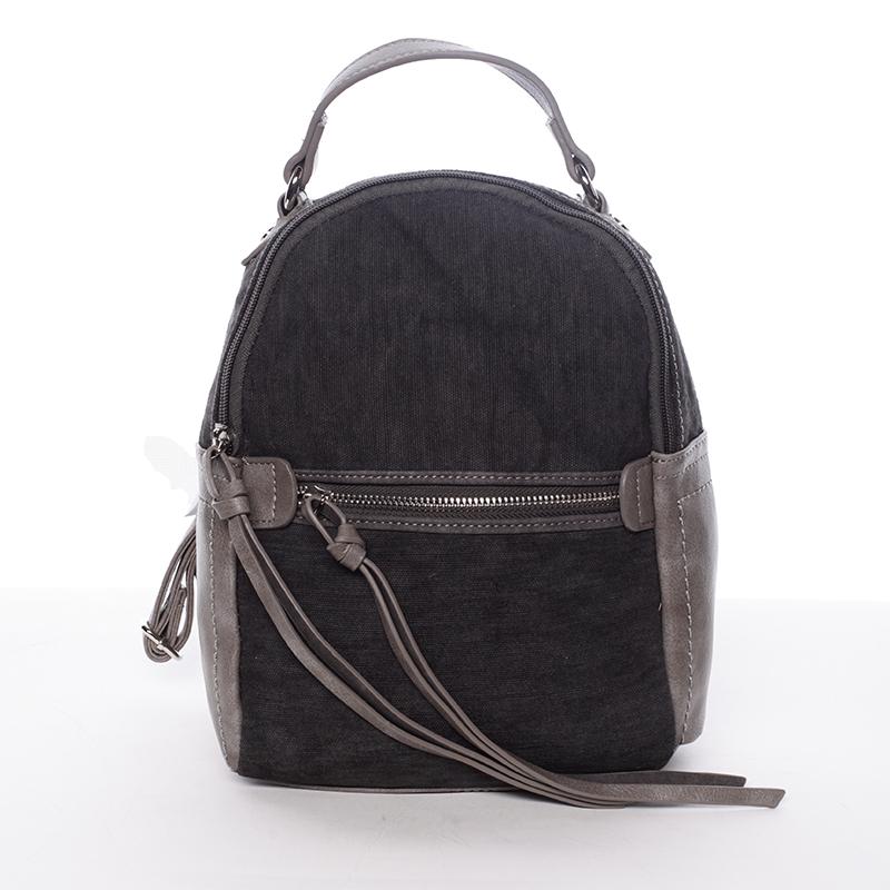 Originální dámský městský batůžek černo šedý - David Jones Roial
