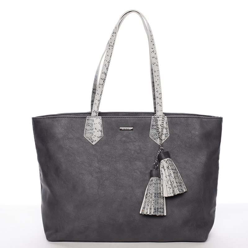 Elegantní dámská kabelka přes rameno černo šedá - David Jones Trava
