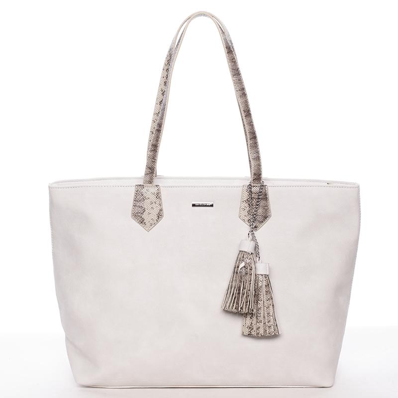 Elegantní dámská kabelka přes rameno krémově šedá - David Jones Trava