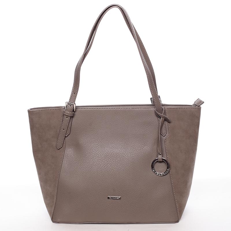 Moderní dámská kabelka přes rameno taupe - David Jones Strap