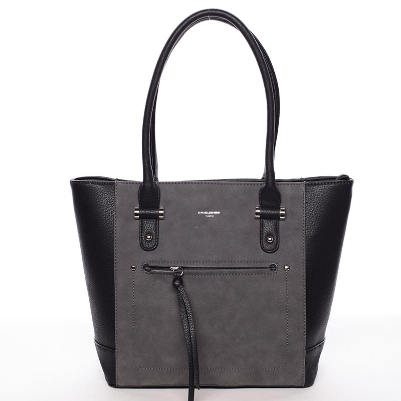 Luxusní dámská černá kabelka  - David Jones Zamsa