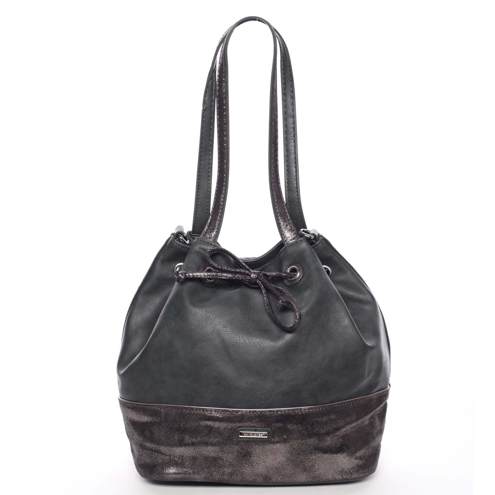 Elegantní měkká dámská kabelka přes rameno tmavě zelená - David Jones Nanette