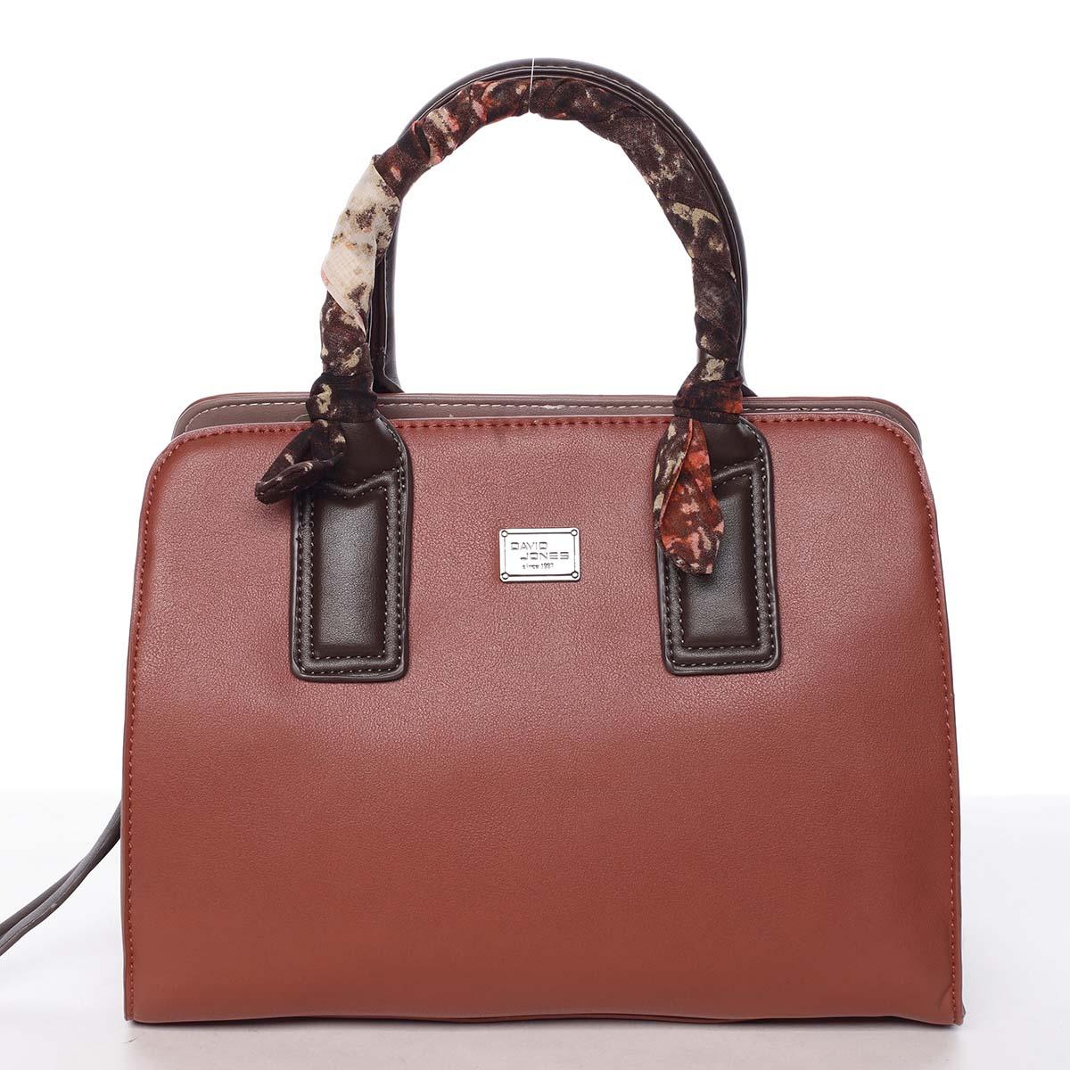 Stylová trendy dámská kabelka do ruky karamelově červená - David Jones Crescent