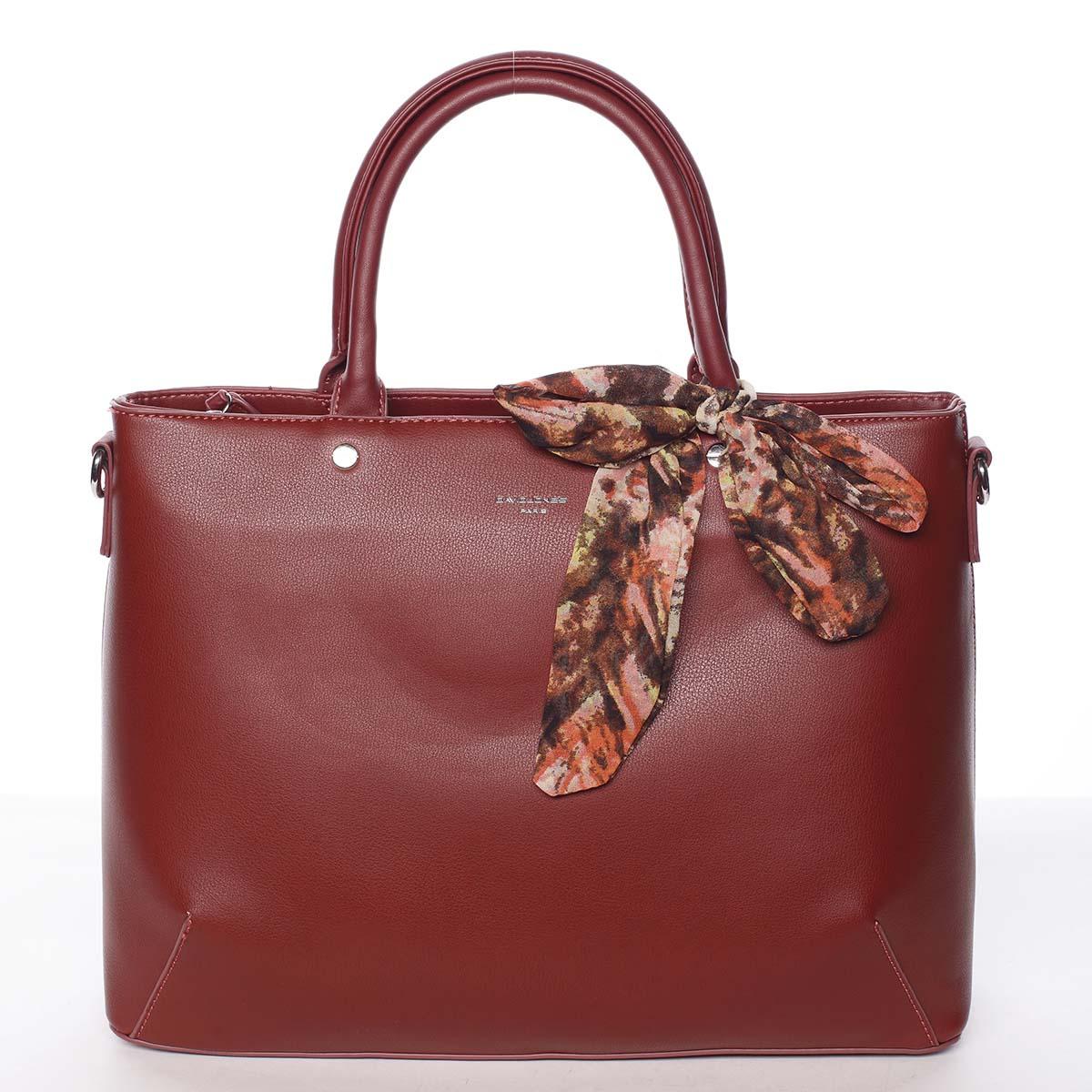 Módní dámská tmavě červená kabelka s mašlí - David Jones Harriet