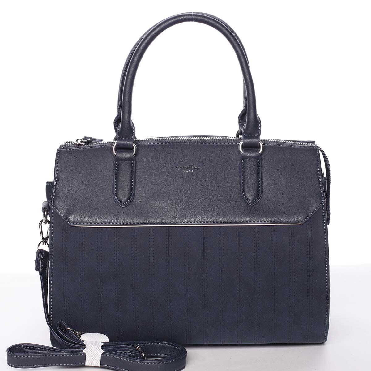 Luxusní nadčasová dámská tmavě modrá kabelka - David Jones Allison