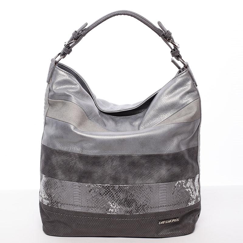 Dámská velká kabelka přes rameno šedá - David Jones Faunia